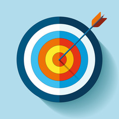 Target icon in flat style on color background. Arrow in the center aim. Vector design element for you business projects
