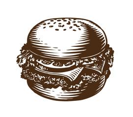 Burger, hamburger, cheeseburger. American fast food sketch vector illustration