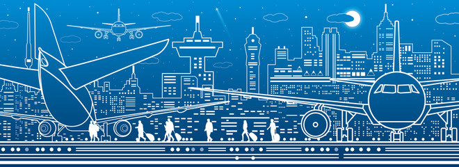 Fototapete - Airport illustration. Aviation transportation infrastructure. The plane is on the runway. Airplane fly, people get on the aircraft. Night city on background, vector design art