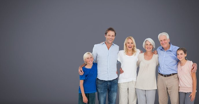 Family generations together with grey background
