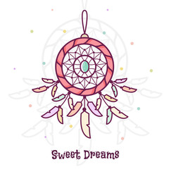 Sweet dreams. Dreamcatcher. Vector illustration.