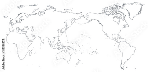 World map outline contour silhouette asia in center stock image world map outline contour silhouette asia in center gumiabroncs Images