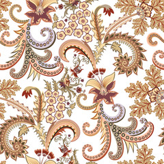 seamless ornate pattern with  small flowers, decorative curls in yellow brown tint
