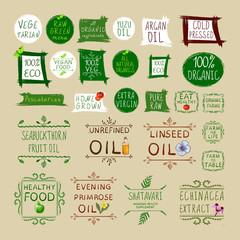 Big VECTOR set of different healthy eating labels
