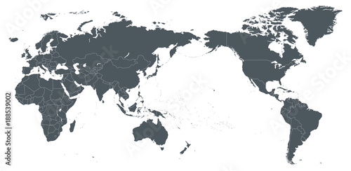 World Map Outline Contour Silhouette Borders - Asia in Center ...