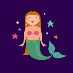 Vector cute poster with mermaid. Cartoon magic illustration