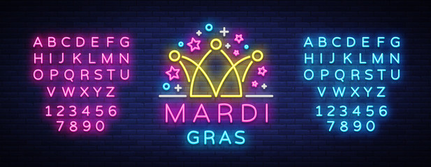 Mardi Gras design template for greeting cards, flyers, greeting. Fat Tuesday is a festive illustration in neon style, neon sign, holiday symbol, bright luminous banner. Vector. Editing text neon sign