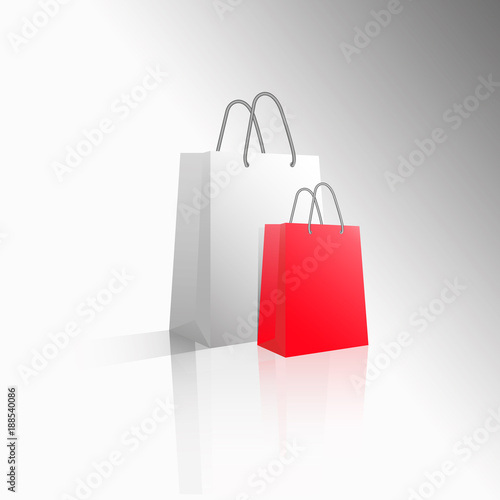 560ea209fb1 Vector 3D icon two empty realistic white and red paper packages or bags for  shopping or