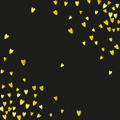 Valentines day card with gold glitter hearts. February 14th. Vector confetti for valentines day card template. Grunge hand drawn texture. Love theme for poster, gift certificate, banner.