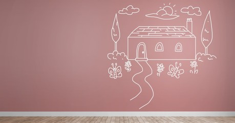 home drawing on wall