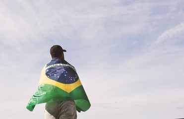 fan with brazilian flag