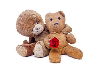 Vintage teddy bears in love. Romantic old couple on Valentine's day