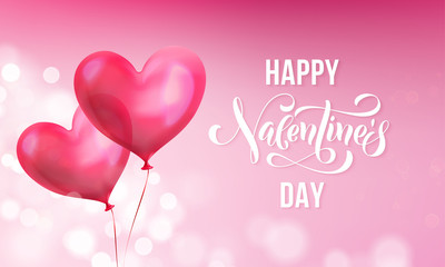 Valentines day greeting card of valentine red heart balloon on pink light shine background. Vector Happy Valentines day text lettering design template of glossy balloon heart