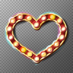 Golden Heart Frame Sign Vector. Glowing Light Bulbs. Isolated On Transparent Background