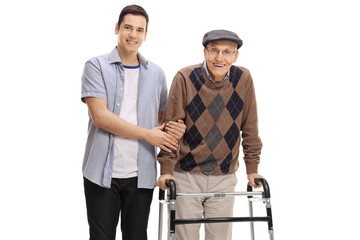 Young man helping a senior with a walker