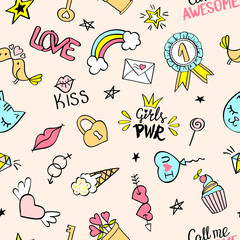 Seamless pattern with hand drawn girly doodles. Repeating background with childish sketch design elements for textile, wallpaper, scrapbooking.