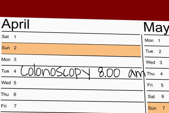 "Schedule with handwritten memo ""colonoscopy"""
