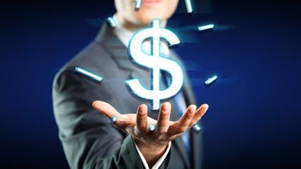 Geschäftsmann mit Dollarsymbol über seiner Hand