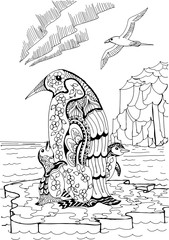 Emperor penguin with chicks and skua. Freehand sketch drawing for adult antistress coloring book
