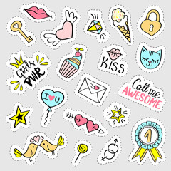 Fashion girly stickers set.  Collection of hand drawn fancy doodle pins, badges. Vector trendy illustration.