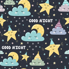 Good night seamless pattern with cute sleeping moon, clouds and stars. Sweet dreams background. Vector illustration