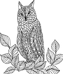 Owl sitting on a branch. Freehand sketch drawing for adult antistress coloring book