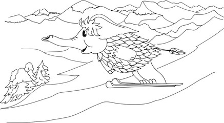 Mammoth coming down the mountain on skis. Freehand sketch drawing for adult antistress coloring book