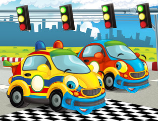 cartoon funny and happy looking racing cars on race track - illustration for children