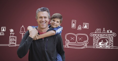 Father and son with home drawings