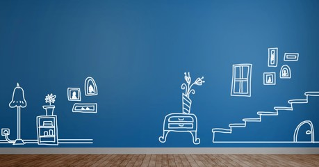 home drawings on wall