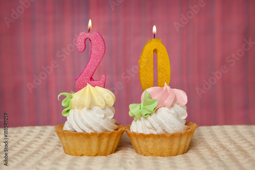 Birthday Anniversary 20 Years With Cake Pink And Golden Number Twenty Candles