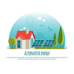 Alternative energy, green technology, banner design concept. Vector illustration for infographic or web app