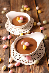 chocolate mousse with easter egg candy