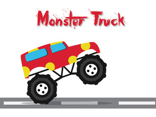monster truck funny kids style design