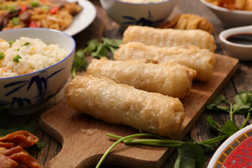 fried spring roll, asian food