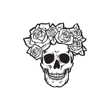 Human skull with  roses black and white , vector illustration