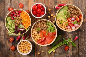 Fotobehang - different sort of vegetable salad bowl