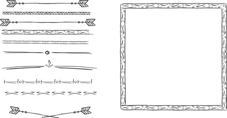 set of frames, borders, dividers, hand drawing