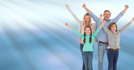 Family celebrating with joy with blue shining light streaks
