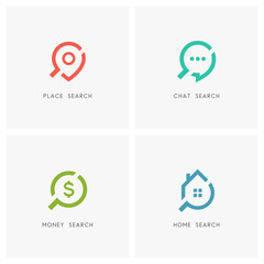 Search logo set. Address pointer, chat, dollar sign, home or house and loupe or magnifier symbol - place, location and destination, dialogue, conversation and discussion, finance and realty icons.