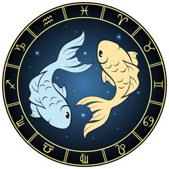 Pisces. Color zodiac sign in the circle frame.