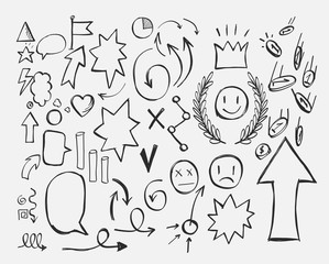 set of doodles. hand-drawing design elements, arrows, dialogs, clouds, growth charts, money