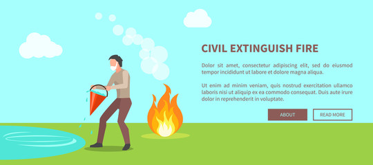Civil Extinguish Fire Poster with Text Vector
