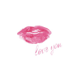 Pink lips with love you lettering on a white background, vector