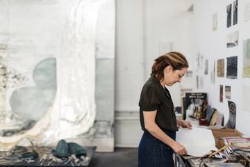 Portrait of Artist Nancy Lorenz in her studio