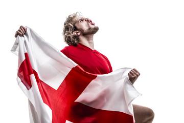 English athlete / fan celebrating on white background
