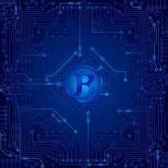 The electronic board from the computer in blue color with a Bitcoin in the center. Vector image.