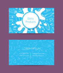 Vector business card for dairy shop or organic farm