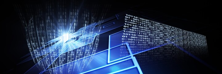 Code binary interface and dark perspective background