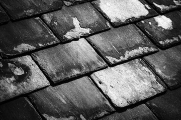 Close up of a tiled blue slate roof